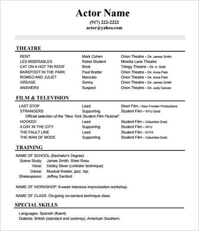 Sample Of Actors Resume Www Annanimmo Com